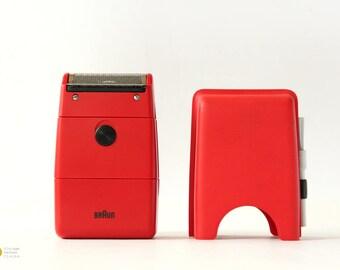 1970 BRAUN CASSETT Shaver Type 5536 Florian Seiffert design classic 70s Germany razor red battery