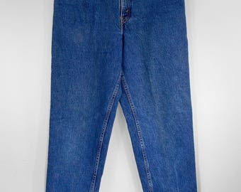 1990's Levis 550 Jeans 26 27 Waist Red Tab High Waisted Boyfriend Mom Jeans Relaxed Fit Tapered Leg 29.5 Inseam