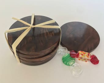 Coasters solid black walnut burl wood