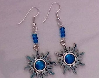 Silver and blue earrings, star earring, sunshine blue, dangle drop, blue with silver, summertime blues, starry sky earrings, girly gifts