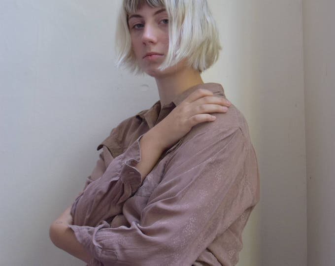 Mauve Silk Mircofloral Shirt.