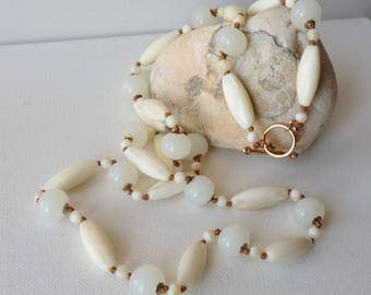 "MONET Beaded Necklace Vintage Long Necklace White Creamy Marbel Copper Classic Costume Jewelry 35.5"" Long Boho Retro Necklace, Costume Monet"