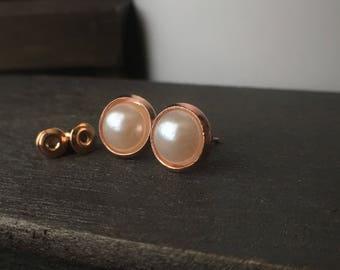 Round Rose Gold Stud Earrings - Jewelry Earrings - Rose Gold Stud Earrings - Pearl Stud Earrings - Bridesmaid Stud Earrings - Rose Gold Stud