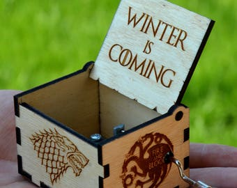 Game of Thrones Music Box Wooden Custom Engraved Gift Wood Musical Box Main Theme Birthday Gift for Husband Friend Dad Father Man