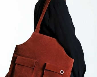 suede leather brown tote , women tote bag, leather tote, brown leather bag, shopper bag, leather bag, brown bag,leather shoulder bag