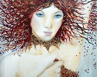 tawny, woman portrait red acrylic, wild, feline, Brown, red, gold