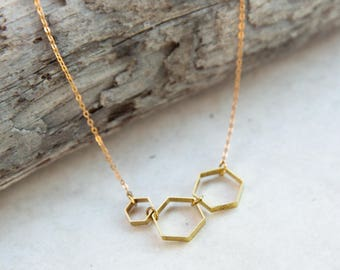 Brass Hexagon Necklace, Hexagon Pendant, honeycomb necklace, Minimalist Dainty Necklace, Everyday Simple Necklace, gold beehive jewelry
