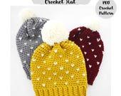 Crochet Pattern Fair Isle Slouchy Beanie Hat, Step by Step Phototutorial, baby, toddler, child, adults, women, men, pom pom, pompom