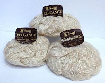 Luxury Wool, Vintage Gold Cafe au Lait Silver Mohair Yarn Bundle, Marnel Elegance Yarn for Knitting or Shimmery Fiber Art Yarn Made in Italy