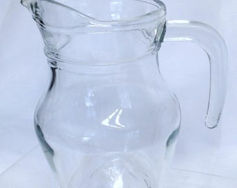 Vintage Glass Creamer, Tea or Coffee Creamer, Small Glass Pitcher, Retro Tea Set Pitcher, Clear Coffee Creamer