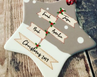 Personalised Family Christmas Signpost ....Ceramic Star... Christmas Gift - Tree Decoration - Ornament