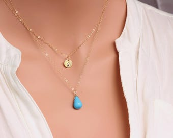 Layered Necklace - layered turquoise necklace -  Personalized Layering Necklace Set - Two Layered - Double layered gemstone initial necklace