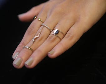 Double Chain Ring Connected Knuckle Ring Finger Chain Ring Handcuff Ring Knuckle Ring With Chain  Double Knuckle Ring One Finger Double Ring