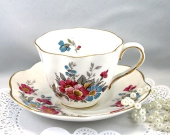 Vintage Salisbury Teacup & Saucer,Floral  Pattern, Gold Rims, Bone English  China made in 1950s.