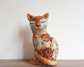Cat sculpture. Ceramic Garden sculpture. Cute animal clay sculpture. Cute cat statue. Animal sculpture. Ceramic sculpture.