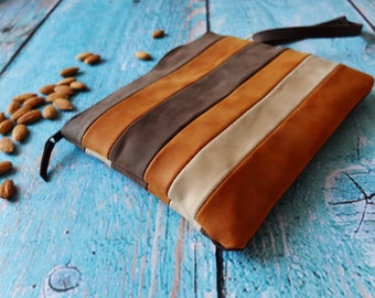 Brown leather striped cosmetic bag - leather makeup bag - leather clutch bag - clutch purse - travel purse - christmas gift