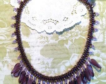 Falling Fringe Purple Bronze Vintage Purple Drops Copper Purple Hex Beads DarlingArtByValeri Custom Handmade Beaded Necklace