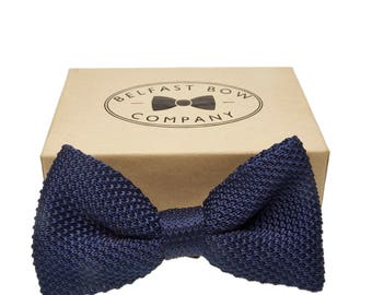 Handmade Knitted Bow Tie in Navy Blue