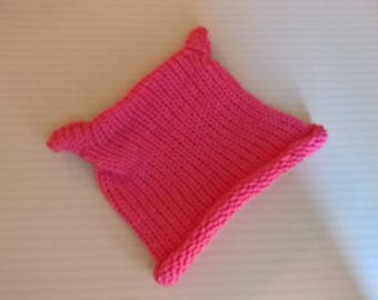Pink PUSSY cat wool bonnet HAT with cat woman girl size