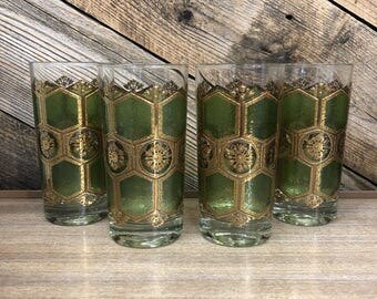 Green Honeycomb Highball Glasses, Set of 4