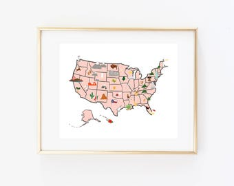 Illustrated U.S. Map Art Print, United States Map Print, Map Decor, American Map Gift, U.S. Map Wall Art