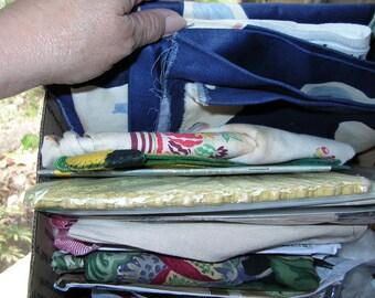 Box Lot Sewing Craft Stuffed with Fabric, Patterns, Jewerly & Surprises
