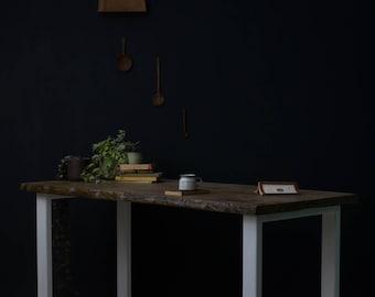 Waney Edge Oak Sage Desk [Bespoke sizes!] Table, Rustic, Kitchen, Office