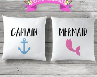 Couples Pillow Cases, Wedding Gift, Captain Mermaid, Couple Pillow Case, Anniversary Gift