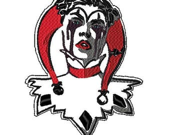 "Harley Quinn Vampire Mina-esque Patch (7"" x 5"" Iron on)"