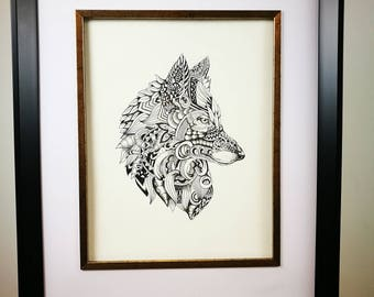 Print of an original pen and ink illustration of a wolf using pattern as detail. Zentangle.