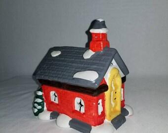 Vintage Ceramic Church,Church Nightlight,Christmas Village,Victorian,Christmas Decor,Shabby,Cottage,Christmas,Church,Vintage Christmas,1990s