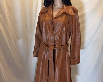 Vintage 60s 70s Mod Imperial Leather & Sportswear Long Leather Jacket Belted Brown