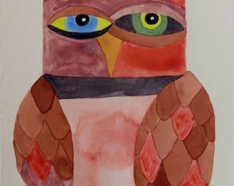 Whimsical art, owl art, original art, whimsical bird art, watercolor painting, modern nursery art, one of a kind art, nursery art, owls