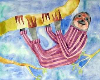Whimsical art, original art, sloth art, watercolor painting, nursery art, kids room art, modern nursery art, whimsical animal art, sloth