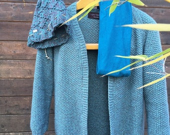 blue vest made by hand