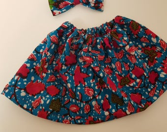 Matching Skirt and Bow, African print
