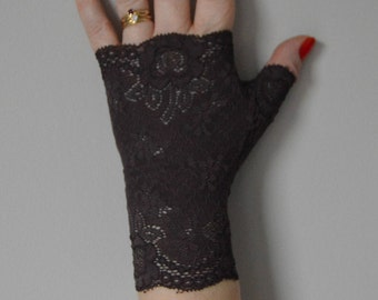 cuff lace opaque Brown, Brown opaque Lace Gloves, opaque Brown gloves, opaque Brown fingerless gloves, arm warmers Brown opaque evening