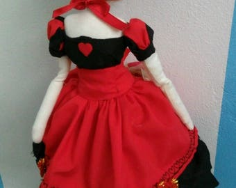OOAK Queen of Hearts, Alice in Wonderland, Handmade Art Doll, Cloth