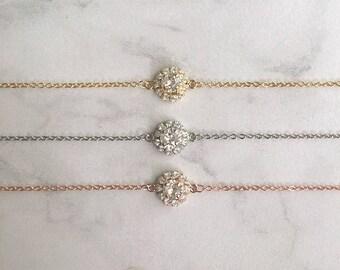 Wedding bracelet - dainty bridal bracelet - rhinestone wedding bracelet - Swarovski crystal - small wrist - Isabella bracelet