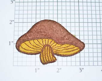 Brown and Yellow Mushroom Toadstool Iron-on Patch Appliqué - Cute Fun Adorable Nature Fungus Embroidered Jacket Patch Shirt Patch Boho e19x