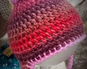 Beautiful wool, cotton & bamboo baby girl Pom Pom beanie. Size 0-3 months. Newborn gift!