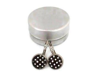 Sleepers polka-dot - stem stainless steel - glass 8 mm - earrings brown white rose - - hypoallergenic
