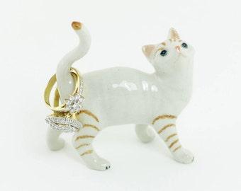 Cat Ring Holder - White and Brown Cat - Cat Figurine - Ceramic Cat