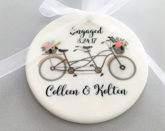 Engagement Ornament, Engagement Ornaments, Bicycle Ornament, Bicycle Ornaments, Engagement Gift, Engagement, Engaged, Bride to Be