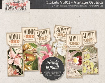 Tropical Party Idea, Wedding Invitation, Rose Gold and Green, Printable Party Ticket Instant Download, Digital Collage Sheet, Vintage Orchid