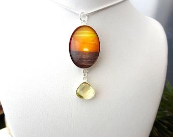 Silver Ocean Necklace, Ocean Pendant, Ocean Sunset, Bridesmaid, Ocean Wedding Gift, Beach Bride Necklace, Beach Wedding Gift, Ocean Jewelry