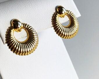 Vintage Earrings, Vintage Gold Tone Earrings, Vintage Stud Earrings, Circle Earrings, 80s Earrings, Bridal Earrings, Earrings for Women