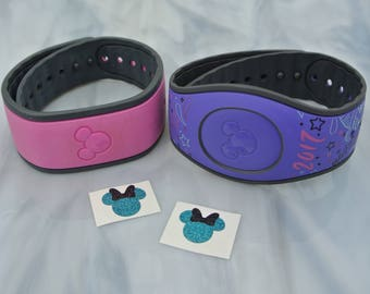GLITTER Mouse with Bow Decals pack of TWO for the Magic Band - MagicBand 2 Decal - Magic Band Sticker - Glitter Mouse Head & Bow