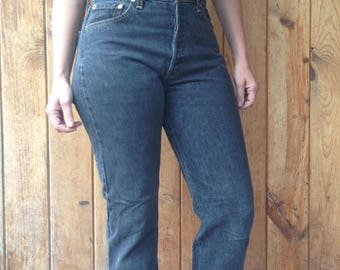 """Vintage 1990's Levi's 501 / Slim Fit - Straight Leg / High Waist / Button Fly / Faded Black - Dark Grey / 29""""W x 33""""L / Long / Made in USA"""