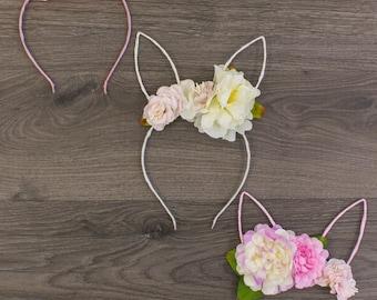 Floral Bunny Hear Headbands - Baby Easter Headband - Toddler Easter Headband